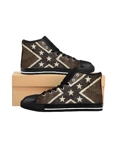 Grunge Confederate Flag canvas high-top sneakers